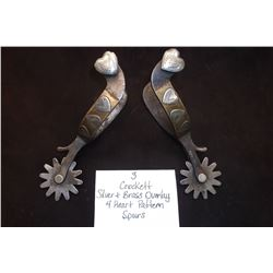 Crocket Silver and Brass Overlay 4 Heart Pattern Spurs