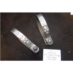 "Unmarked Iron Oxbow Stirrups. Silver Inlay plus Dots.  7""L X 5 1/2""W"