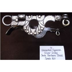 Unmarked Figueroa Silver Inlay Santa Barbara Cheek Spade Bit