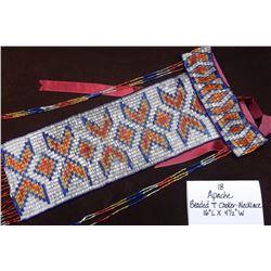 Apache Beaded T-Choker-Necklace.  16 1/2L X 4 1/2W