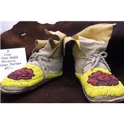 Crow Floral Beaded Moccasins Eastern Montana.  8 1/2 L