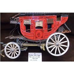 "Miniature Wells Fargo Stage Lines, U.S. Mail Stage Coach  15""L X 10""H"