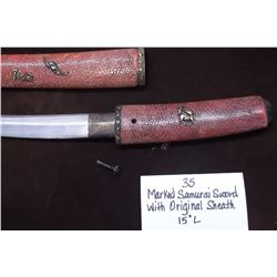 "Marked Samurai Sword with Original Sheath  15""L"