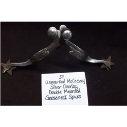 Unmarked McChesney Silver Overlay Double Mounted Gooseneck Spurs