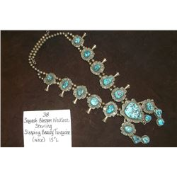 """Sterling Squash Blossom Necklace- Sleeping Beauty Torquoise(Nice) 15""""L"""