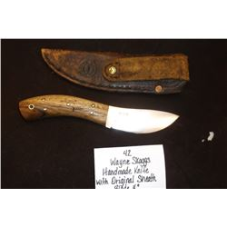 "Wayne Skaggs Handmade Knife w/ Original Sheath. Blade 4"" Handle 4 1/2"""