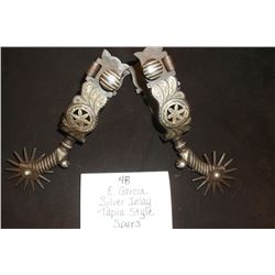 E Garcia Silver Inlay Tapia Style Spurs