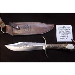 "Limited Edition Remington Knife w/Antler Handle and Original Sheath.  377/2500. Blade 9 1/4"" Handle"