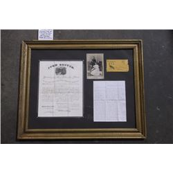 """Military Promotion Document from 1864 with Family Photo, Letter to Wife and Envelope.  Frame 30""""L X"""