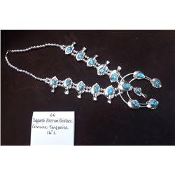 """Squash Blossom Necklace Genuine Turqoise.  16""""L"""