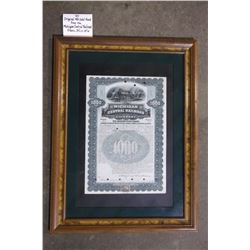 "Original 1901 Gold Bond from the Michigan Central Railroad.  Frame 24""L X 18""W"