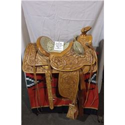 """Ray Holes Saddle 15"""" Fully Carved Flower and Leaf Pattern Square Skirt, Cheyenne Roll 1969 Tom Quale"""