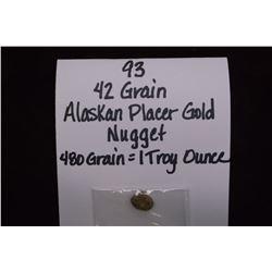42 Grain Alaskan Placer Gold Nugget- 480 Grains= 1 Troy Ounce