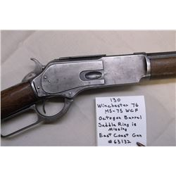 Wichester 76-.45-75 WCF Rifle- Octagon Barrel- Saddle Ring is missing- East Coast Gun. #63132