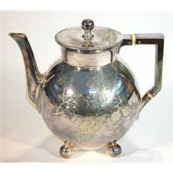 Christopher Dresser Style Silver Plated Tea Pot Teapot