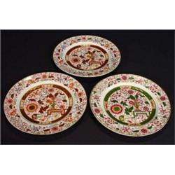 Three Victorian Ashworth ironstone plates hand coloured and transfer