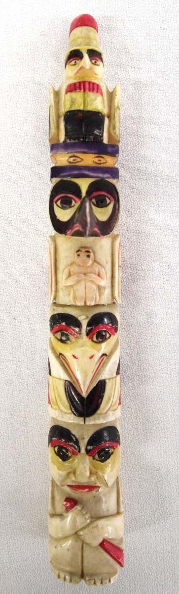 Vintage Carved Bone Totem Pole