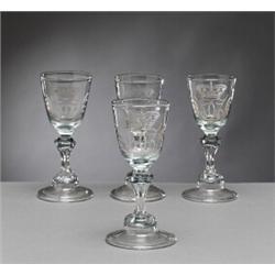 A set of four Norwegian WINE GLASSES, Nøstangen, A set of