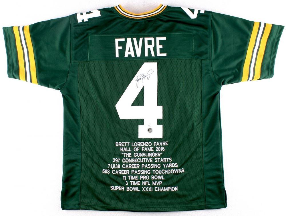 finest selection 638b1 6e70e Brett Favre Signed Packers Career Highlight Hall of Fame ...