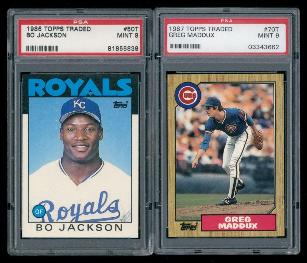 Lot Of 2 Psa Graded Topps Baseball Cards With Greg Maddux 1987