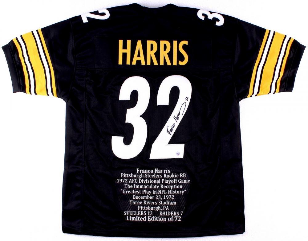 490408a64 Image 1   Franco Harris Signed Steelers Career Highlight Stat Jersey (TSE  COA) ...