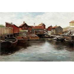 OLOF HERMELIN 1827-1913 Fiskeläge med sjöbodar, OLOF HERMELIN 1827-1913 Fiskeläge med sjöbodar...