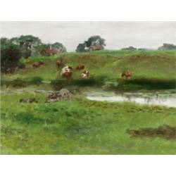 BRUNO LILJEFORS 1860-1939 Landskap med, BRUNO LILJEFORS 1860-1939 Landskap med vattendrag och b...