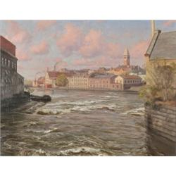 JOHAN KROUTHÉN 1858-1932 Vy över Norrköping -, JOHAN KROUTHÉN 1858-1932 Vy över Norrköping - sk...