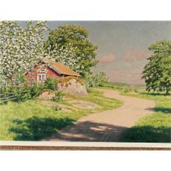 JOHAN KROUTHÉN 1858-1932 Sommarlandskap med, JOHAN KROUTHÉN 1858-1932 Sommarlandskap med stuga...