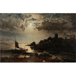 ALFRED WAHLBERG 1834-1906 Kustby i, ALFRED WAHLBERG 1834-1906 Kustby i månsken Signerad Alfr. W...