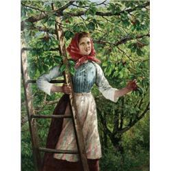 SEVERIN NILSON 1846-1918 Flickan vid, SEVERIN NILSON 1846-1918 Flickan vid körsbärsträdet Signe...