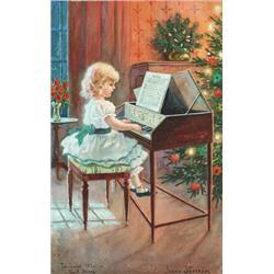 JENNY NYSTRÖM 1854-1946 Spelande flicka -, JENNY NYSTRÖM 1854-1946 Spelande flicka - julstämnin...