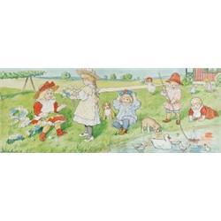 JENNY NYSTRÖM 1854-1946 Midsommar - barn med, JENNY NYSTRÖM 1854-1946 Midsommar - barn med blom...