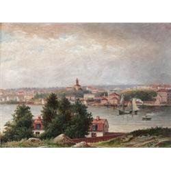 ERNFRIED WAHLQVIST 1818-1895 Vy över, ERNFRIED WAHLQVIST 1818-1895 Vy över Riddarfjärden och Ku...