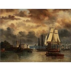 ALFRED WISTRÖM 1833-1873 Utsikt över, ALFRED WISTRÖM 1833-1873 Utsikt över Stockholm Signerad o...