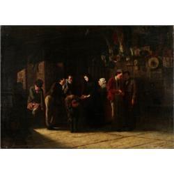 CARL, CARL d´UNKER 1828-1896 Pantlånekontoret Signerad och daterad C. d´Unker 1862. Olja på duk...