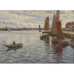 JOHAN ERICSON 1849-1925 Hamnmotiv med, JOHAN ERICSON 1849-1925 Hamnmotiv med segelbåtar - somma...