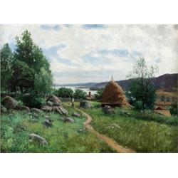 KONRAD SIMONSSON 1843-1901 Sommarlandskap med, KONRAD SIMONSSON 1843-1901 Sommarlandskap med hö...