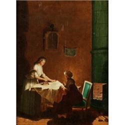 JOHAN ANDERS LINDER 1783-1877 Gustaviansk, JOHAN ANDERS LINDER 1783-1877 Gustaviansk interiör m...