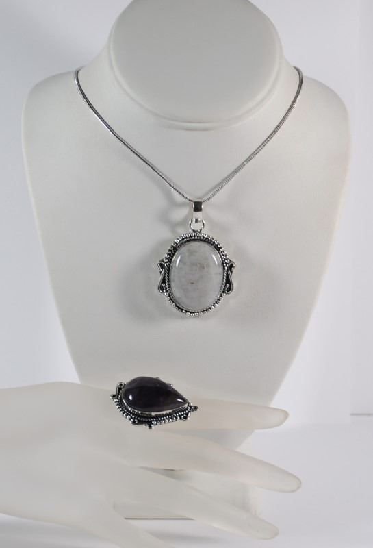 GERMAN SILVER RAINBOW MOON STONE NECKLACE & AMETHYST RING (SIZE 8 5)