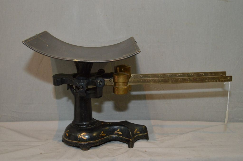 Antique double beam cast and brass postal scale made by