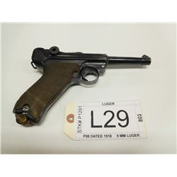LUGER , MODEL: P08 DATED 1918 , CALIBER: 9MM LUGER