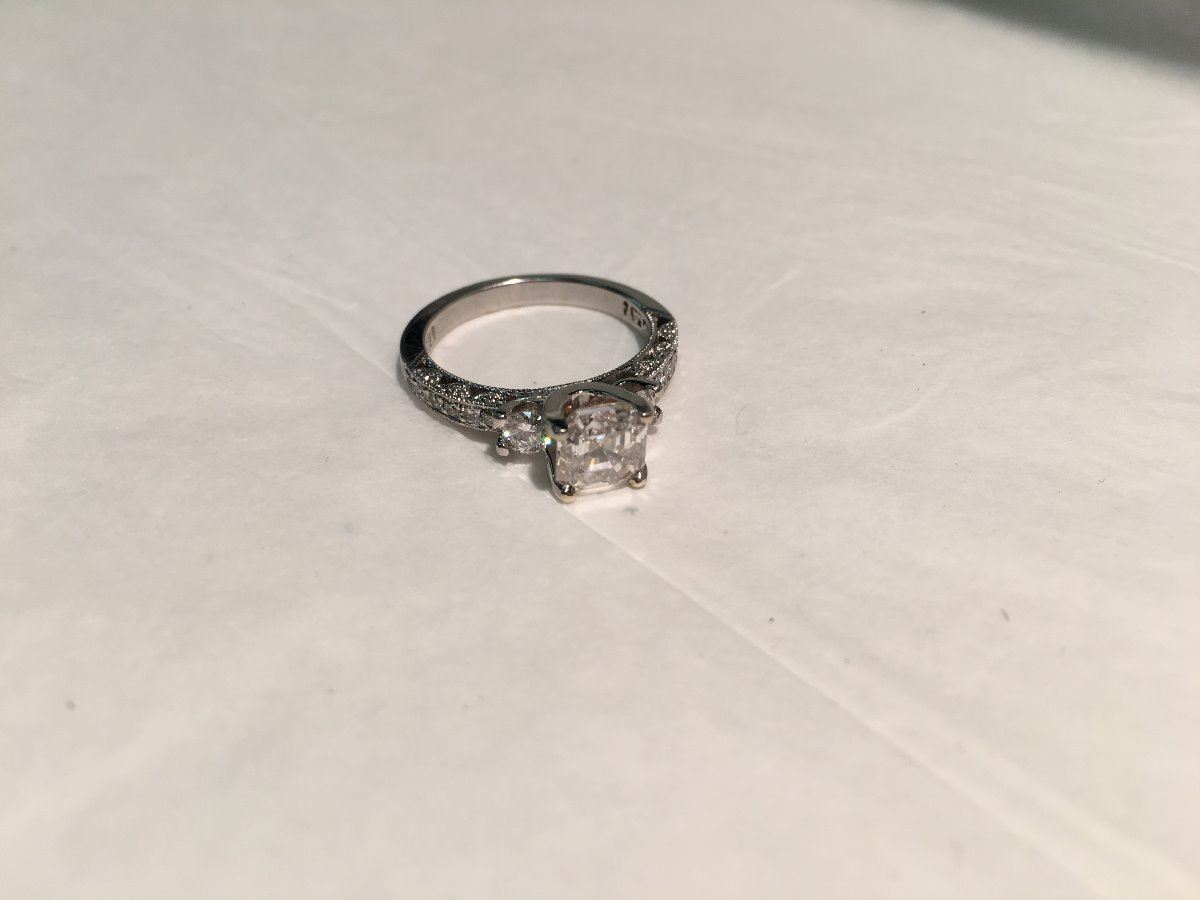 Platinum Tacori Diamond Engagement Ring Set With A Square Emerald Cut Diamond Approx 0 1 51ct