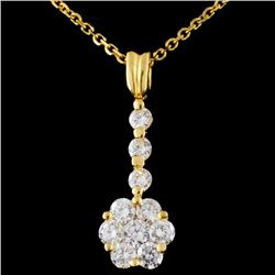 18K Yellow Gold 0.95ctw Diamond Pendant