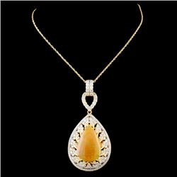 18K Gold 7.28ct Opal & 1.88ctw Diamond Pendant