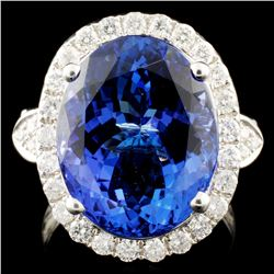 18K Gold 10.72ct Tanzanite & 0.87ctw Diamond Ring