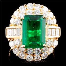 18K Gold 3.58ct Emerald & 2.23ctw Diamond Ring