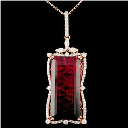 18K Gold 41.92ct Tourmaline & 1.85ctw Diamond Pend