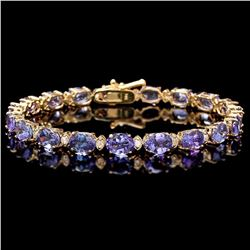 `14k Gold 17ct Tanzanite 0.80ct Diamond Bracelet