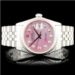 Rolex SS DateJust Diamond Wristwatch